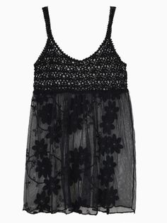 Love Love Love this Dress! Black Crochet Summer Beach Dress with Embroidered Flowers! #Black #Crochet #Beach #Dress  #Embroidery #Flowers