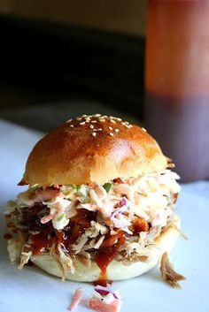 Pulled Pork sandwiches with slaw and pickles. Pulled Pork sandwiches with slaw and pickles. Pork Sandwich, Sandwich Recipes, I Love Food, Good Food, Yummy Food, Pulled Pork Recipes, Slaw For Pulled Pork, Pork Dishes, Food And Drink