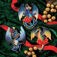 Three Dragons of Talbooth 3 Piece Sculptural Holiday Ornament Set