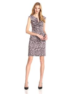 Adrianna Papell Women's Floral Jacquard Lace Wrap Sheath Dress at Amazon Women's Clothing store: