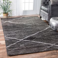nuLOOM Contemporary Striped Dark Grey Rug ($139) ❤ liked on Polyvore featuring home, rugs, grey, gray rug, grey rug, gray trellis rug, non skid rugs and geometric area rugs