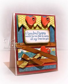Card by Sankari Wegman using Hundred Hearts from Verve Stamps.  #vervestamps
