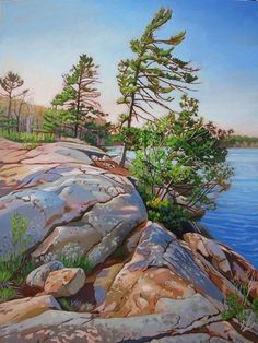 Acrylic on Gallery Canvas Killbear Provincial Park Available at Koyman Gallery Watercolor Landscape Paintings, Watercolor Artists, Nature Paintings, Beautiful Paintings, Landscape Art, Indian Paintings, Winter Landscape, Abstract Paintings, Oil Paintings