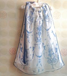 Refashioned Vintage Blue Toile Baby Girl Pillowcase Dress 24-36 month size