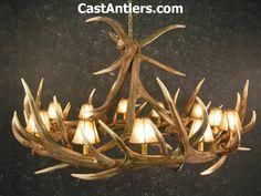 Antler Chandeliers - Elk 9 Cast Antler Chandelier w/ Rawhide Shades | Rustic…