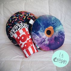 Chocolate donut, galactic donut & popcorn pillow http://instagram.com/lacreme.brand