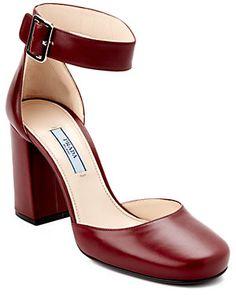 Prada Leather Block Heel Mary Jane Pump