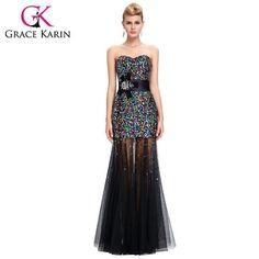 Grace Karin Colorful Sequins Black Mermaid Evening Dress 2017 Tulle Peacock Dress Formal Party Gowns vestido de festa longo 6026 - On Trends Avenue