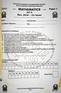 KNEC KCSE 2019 Mathematics paper 1 past paper: This is an original Kenya Certificate of Secondary Education (KCSE) 2019 Mathematics paper 1 exam paper Past Papers, Exam Papers, Chemistry Paper, National Examination, Marking Scheme, Classroom Behavior, Question Paper, Mathematics, Teacher