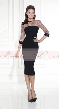 Sheath Scoop Neck 3/4 Long Sleeve Knee Length Cocktail Dress With Open Mesh/Applique - Always the Bride