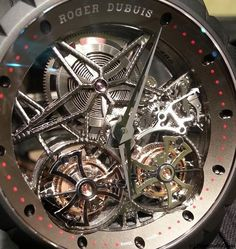 Roger Dubuis Skeleton Double Flying Tourbillon in Black Titanium Closeup