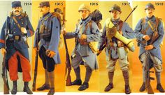 Evolution of French infantry uniform during the war.