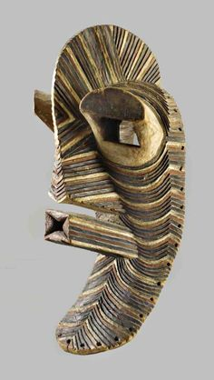 Africa | Male mask from the 'bwadi ba kifwebe' society of the Songye people of Congo | ca. prior to 1975 | Wood and pigment