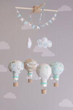 Hot Air Balloon Baby Mobile, Vintage Travel Theme Nursery, Aqua and Tan, Baby…