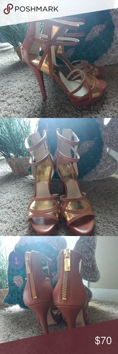 Michael Kors Sexy Strappy Heels🔥make me an offer! Super Sexy Michael Kors open toe heels. Only worn once Michael Kors Shoes Heels