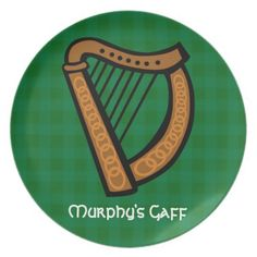 #Irish Celtic Harp #Saint Patricks Day/ Everyday #Party Plates