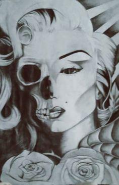 Marilyn Monroe by on DeviantArt Half Skull, Marilyn Monroe Art, Easy Drawings, Weird, Sculptures, Deviantart, Statue, Painting, Fictional Characters
