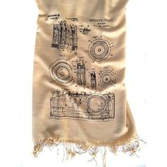 This gorgeous scarf features drawings of the Enigman coding machine. Invented by the German engineer Scherbius and eventually decoded by Turing, Enigma was cent