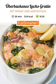 Salmon Spinach Gratin - Salmon Spinach Gratin: This delicious salmon . - Salmon Spinach Gratin – Salmon Spinach Gratin: This delicious salmon … – # salmon spinach gra - Tasty Meal, Healthy Dinner Recipes, Spinach Gratin, Teriyaki Salmon, Eat Smarter, Fish Recipes, Food Network Recipes, The Best, Good Food