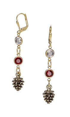 Earrings with Swarovski and Gold-Plated Brass Links and Antiqued Gold-Plated Pewter Charms - Fire Mountain Gems and Beads