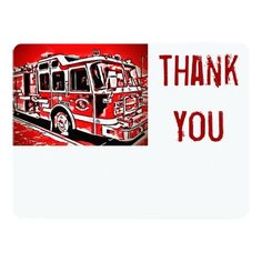 Fire Truck Engine Firefighter Flat Thank You Cards SOLD on #Zazzle