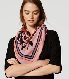 LOFT Floral Border Scarf ($36): This sweet little scarf is the perfect pick-me-up for a monochrome outfit. The silky texture adds instant luxe to any look. Wear it bandana-style (like it's style in the photo above) or twist it into an on-trend neckscarf.