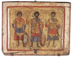 Icon: Saint Warriors George, Theodore and Demetrius  Byzantium, Constantinople, Late 11th - early 12th century