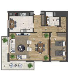 Köy Apartman Kat Planı 3+1 Köşe Dubleks Alt Kat Daire