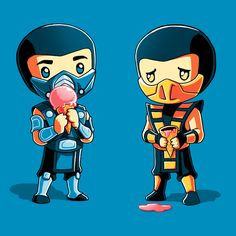 Freezer Burn - This official Mortal Kombat t-shirt featuring Sub-Zero and Scorpion is only available at TeeTurtle!