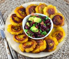 tostones with bean salsa