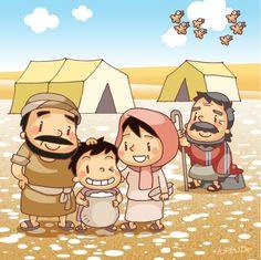 교재삽화 - 구약성경, 모세, 만나와 메추라기 ② -난도리- : 네이버 블로그