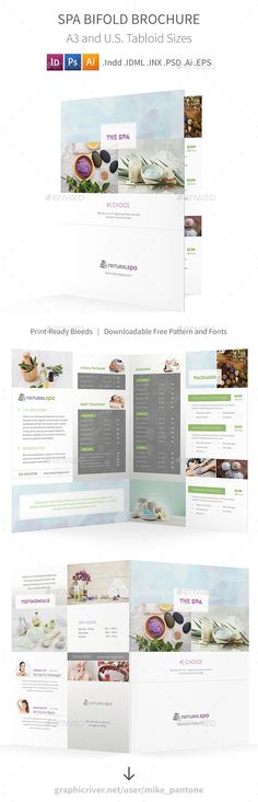 Spa Bifold / Halffold Brochure Template PSD, Vector EPS, InDesign INDD, AI Illustrator