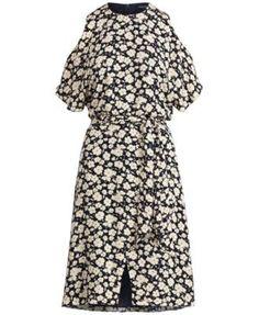 Lauren Ralph Lauren Printed Cold-Shoulder Dress - Navy/White 10