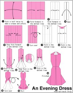 Make pretty paper dresses with basic origami folding techniques pink square neck origami cross back maxi dress diy origami dresses Moda Origami, Origami Ball, Diy Origami, Origami Dress, Origami And Kirigami, Origami Folding, Paper Crafts Origami, Useful Origami, Paper Folding