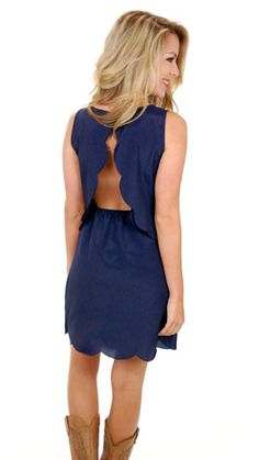 Navy scalloped dress. Would be perfect in black or crimson for gameday.