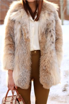 vintage fur and high-waisted pants