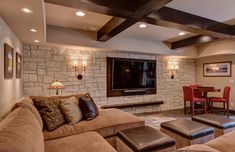 This basement remodel was made to last with timeless stone, dark wood, and stain glassed features that will be beautiful for a lifetime. Get your basement remodel started today with the basement experts at FBC Remodel! Home Theater Rooms, Home Theater Design, Home Theater Seating, Old Basement, Basement Bedrooms, Basement Ideas, Basement Bars, Piazza San Marco, Basement Ceiling Options