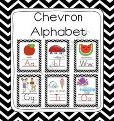 Black White Chevron Picture Alphabet Border Set (8x10 5x7) from First Class Teacher Resources on TeachersNotebook.com - (64 pages) - Black White Chevron Picture Alphabet Border Set (8x10 5x7). Open the preview to get a free alphabet picture chart!