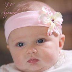 Sassy Headband – Baby.  Adorable soft baby headband with removable flower accessory.  GigisApparel