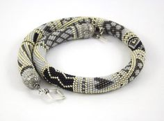 RESERVED Bead Crochet Necklace Silver patchwork  by LeeMarina, $84.00