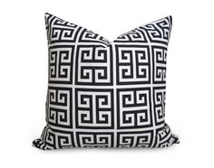 Greek Key Pillow Cover - Black and Cream