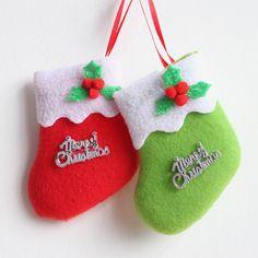 2016 Ребенок Первый Рождественский Чулок 9*7 см Плюшевые Рождеством Праздничное Оформление Красный Зеленый Рождественская Елка Украшения купить на AliExpress
