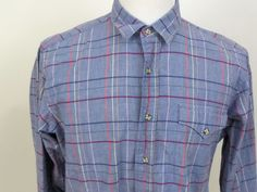 Vintage CHAPS RALPH LAUREN Men's   Plaid Dress shirt Sz Small Blue/Red/White #Chaps