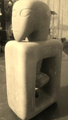 Hooked - Limestone Sculpture by Sculptor Jason Littrell.  Movement in Stone