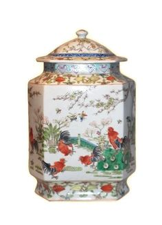 Beautiful Chinese Porcelain Chicken Motif Ginger Temple Jar 14""