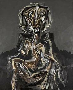 """Antonio SAURA, """"Ritva dans son fauteuil"""", 1985 - Huile sur toile, 195 x 159 cm, Marseille, musée Cantini"""
