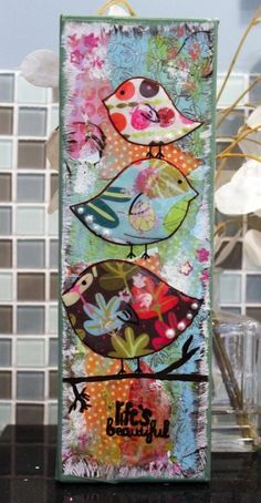 mixed media art ideas | mixed media by TinyCarmen like the cut out birds
