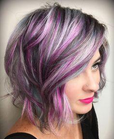 Grey Hair With Purple Highlights, Purple Grey Hair, Ombre Hair Color, Cool Hair Color, Hair Colors, Peekaboo Highlights, Violet Hair, Burgundy Hair, Brown Hair