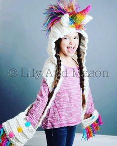 CROCHET PATTERN Unicorn Rainbow Hooded Scarf unicorn hooded