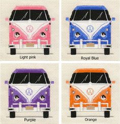 An Original counted cross stitch kit by Fido Stitch Studio. VW Camper Van ~ Choice of 8 colours ~. This 'mini' stitch kit could be completed in a few evenings. SALE - REDUCED FROM £5.95 for a short period. | eBay!